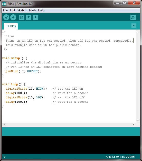 Set the Arduino script